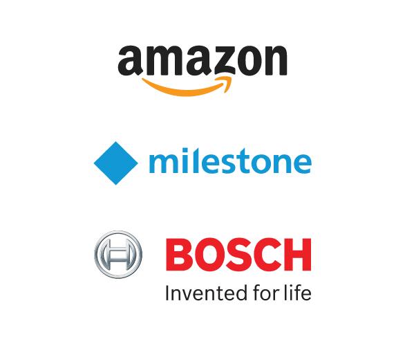 Amazon, Milestone, Bosch Logos