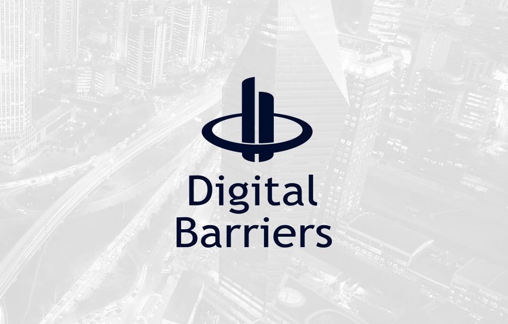 Digital Barriers logo i fron of city scape