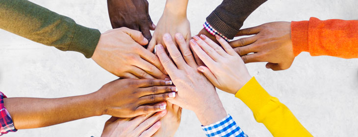 hands together shows Equal opportunities