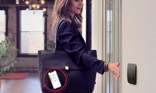 openpath contactless reader woman near door